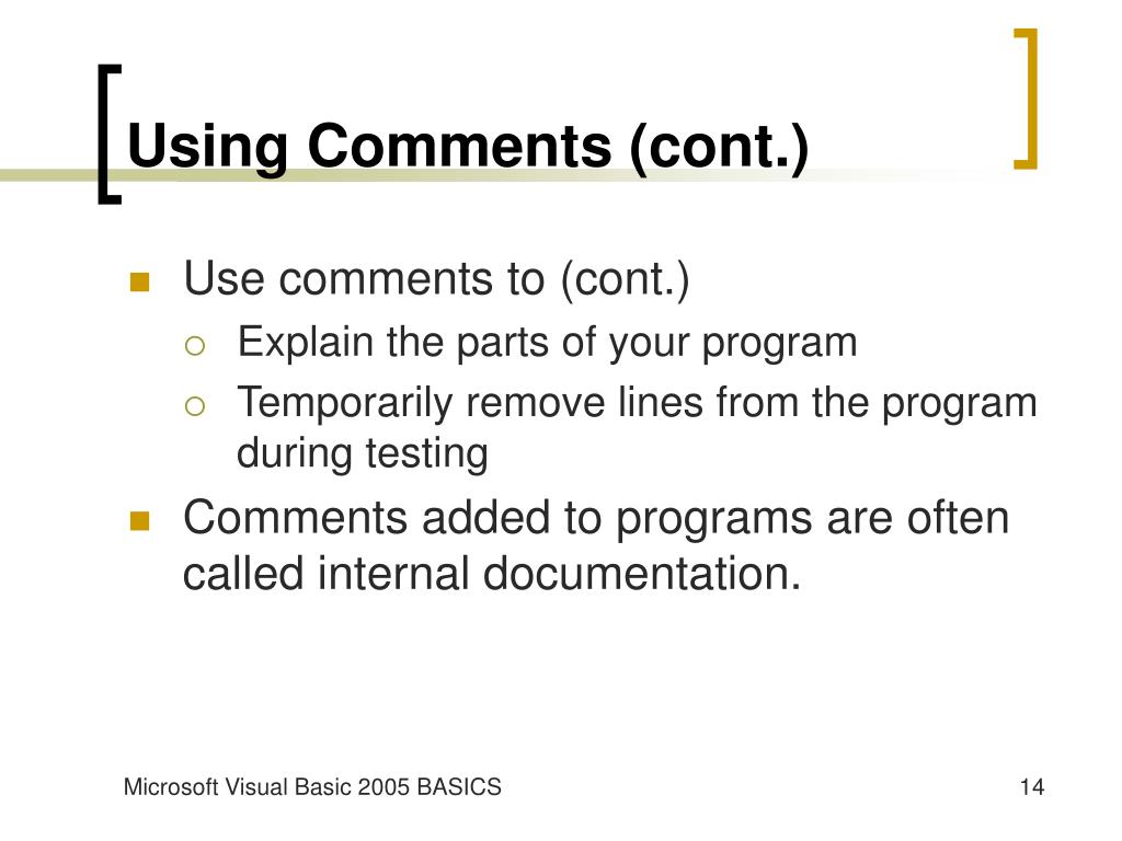 Using Comments (cont.)