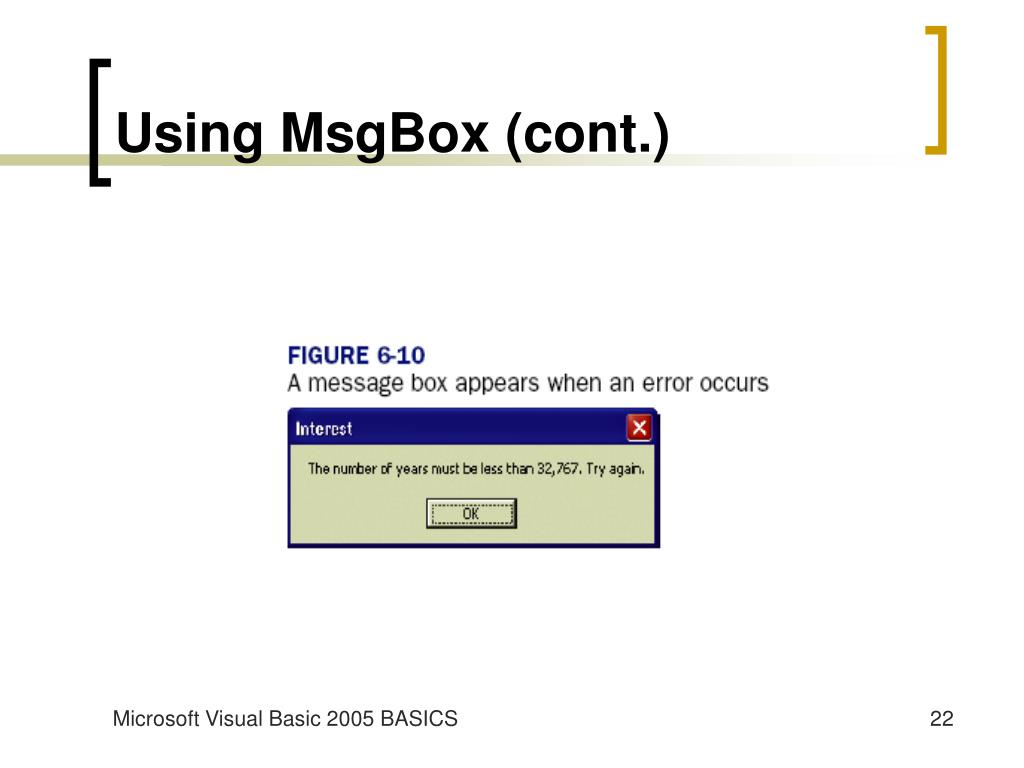 Using MsgBox (cont.)