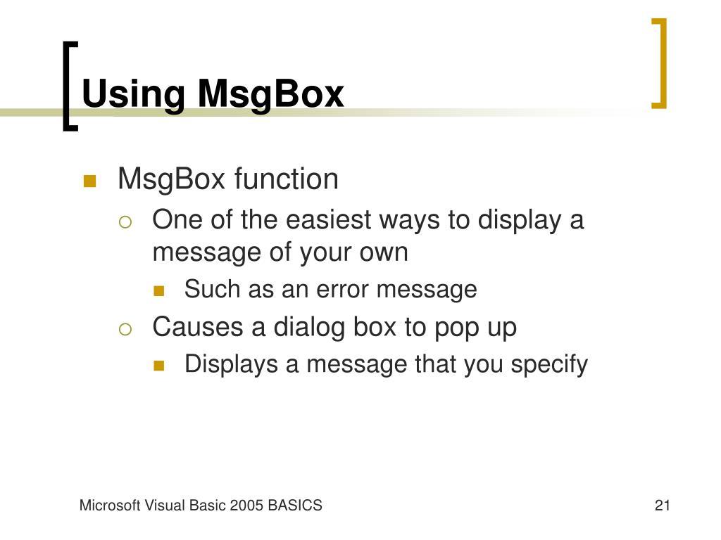 Using MsgBox