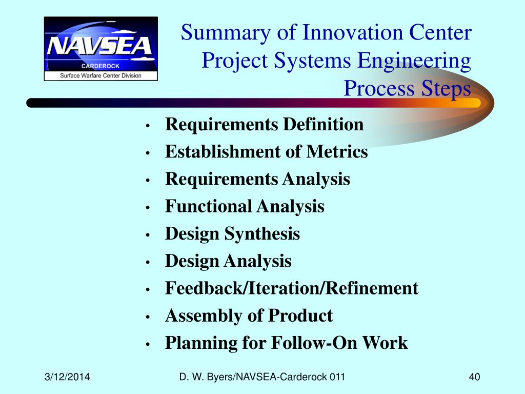 Summary of Innovation Center Project Systems Engineering Process Steps