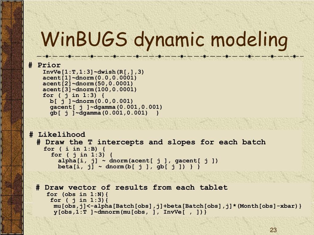 WinBUGS dynamic modeling
