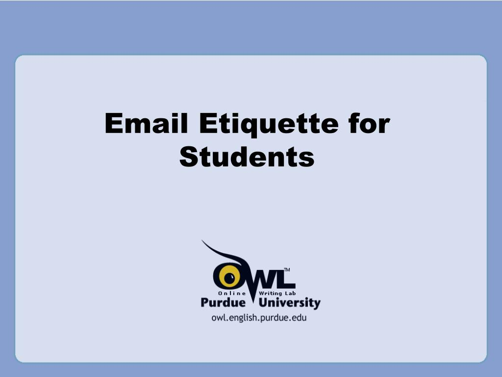 email etiquette for students l.