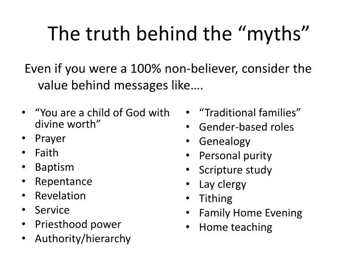 "The truth behind the ""myths"""