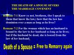 the death of a spouse severs the marriage covenent