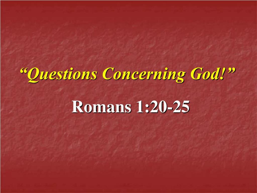 questions concerning god l.