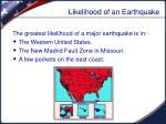 likelihood of an earthquake