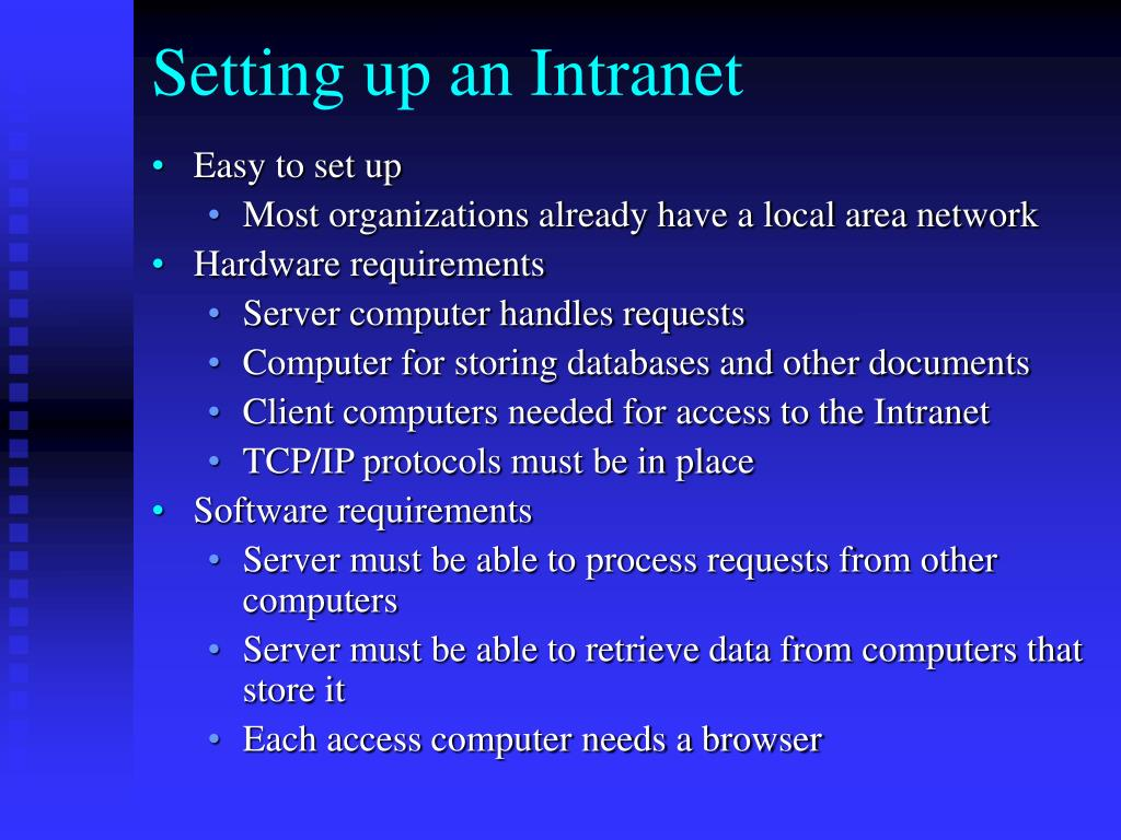 Setting up an Intranet