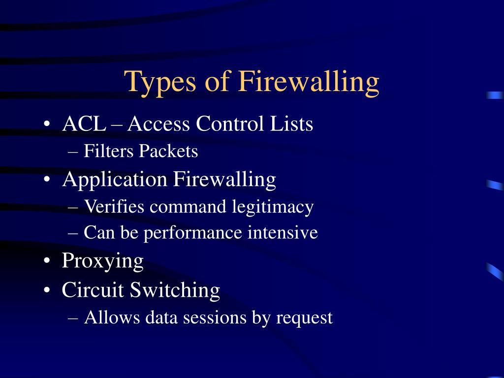 Types of Firewalling