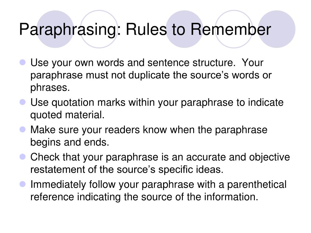Paraphrasing: Rules to Remember