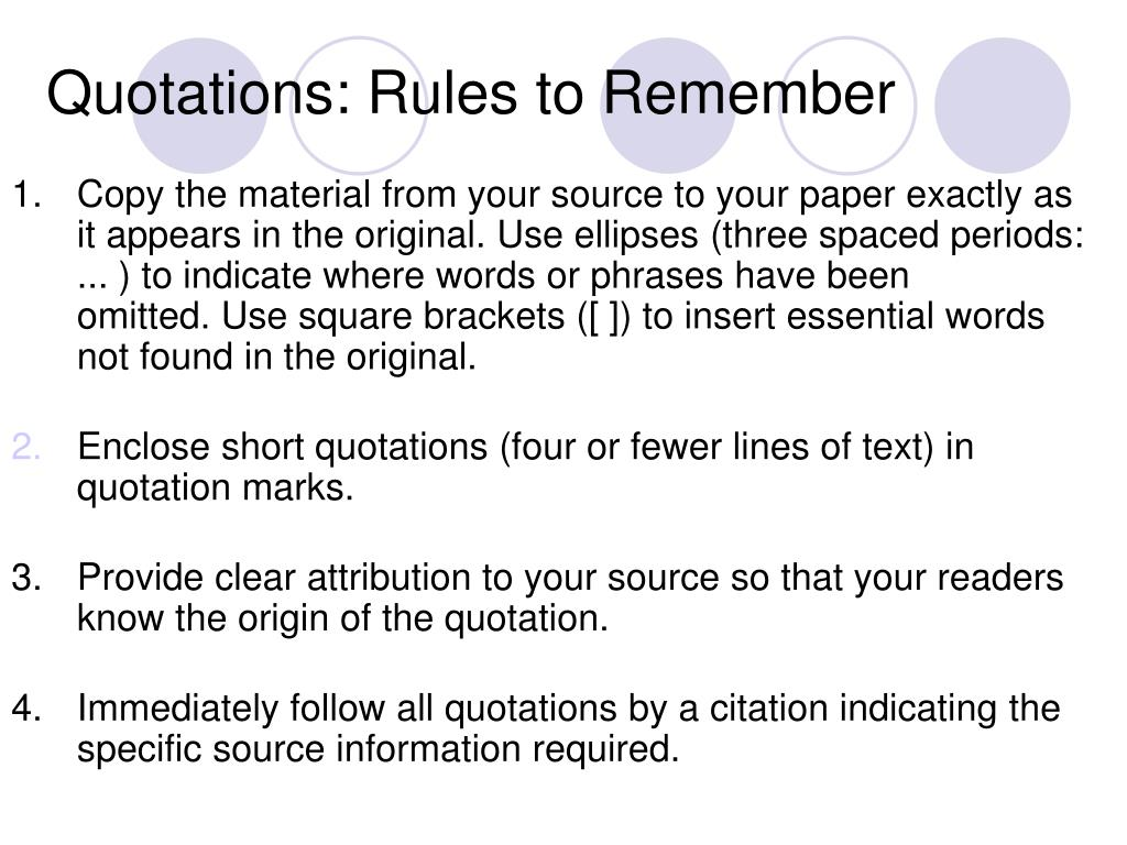 Quotations: Rules to Remember