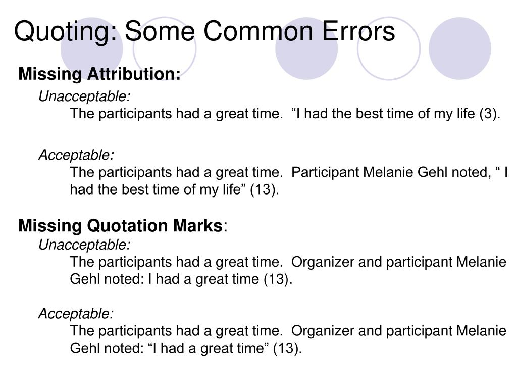 Quoting: Some Common Errors