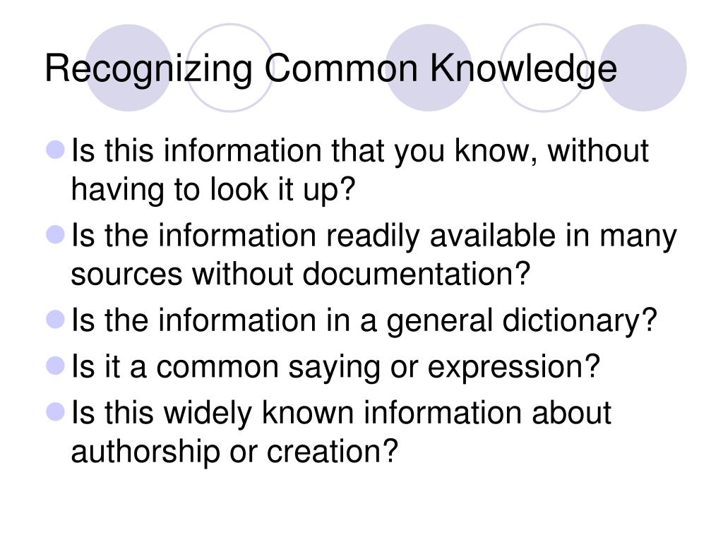 Recognizing Common Knowledge