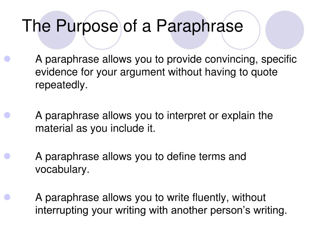 The Purpose of a Paraphrase