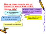 how can these proverbs help our students to improve their critical thinking skills