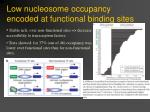 low nucleosome occupancy encoded at functional binding sites