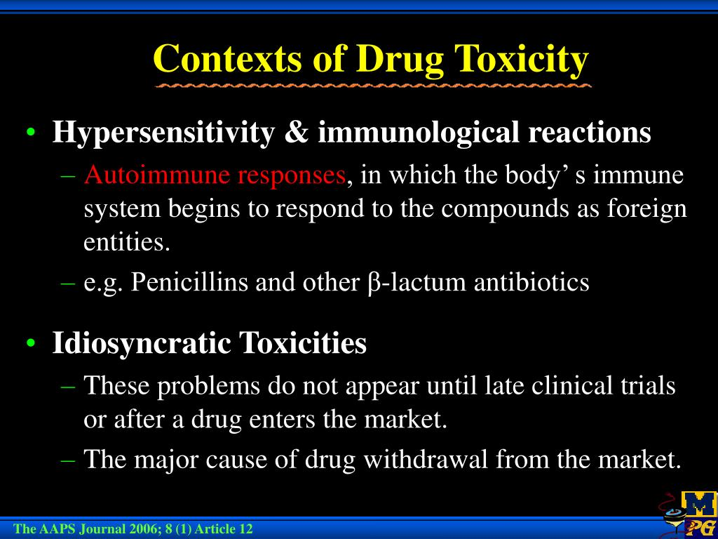 Contexts of Drug Toxicity