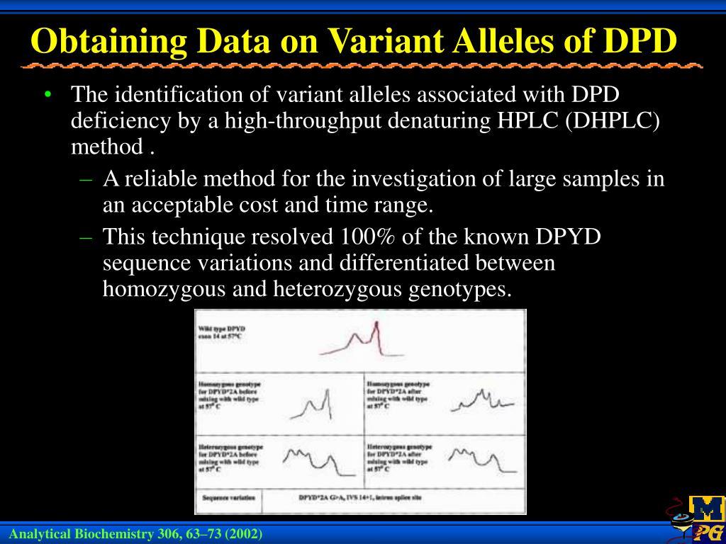 Obtaining Data on Variant Alleles of DPD