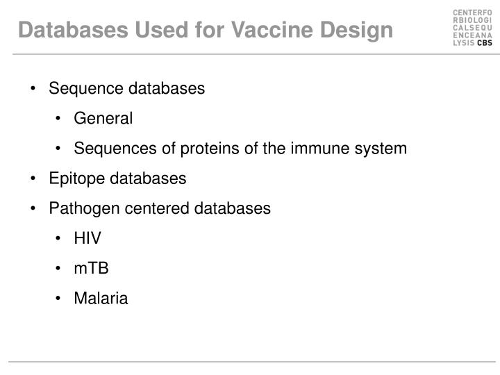 Databases Used for Vaccine Design