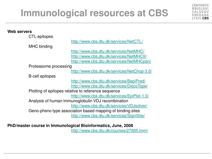 Immunological resources at CBS