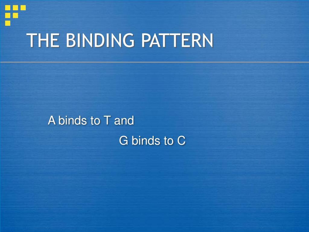 THE BINDING PATTERN