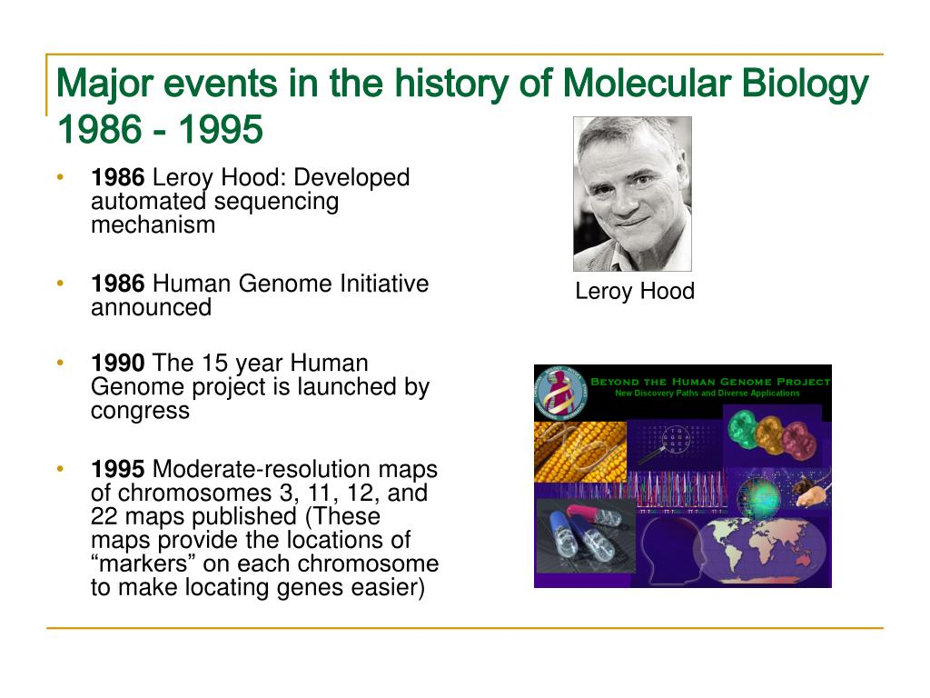 Major events in the history of Molecular Biology 1986 - 1995