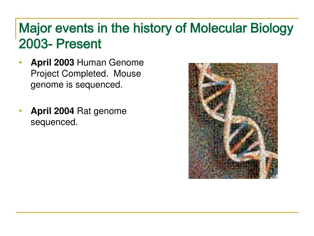 Major events in the history of Molecular Biology 2003- Present