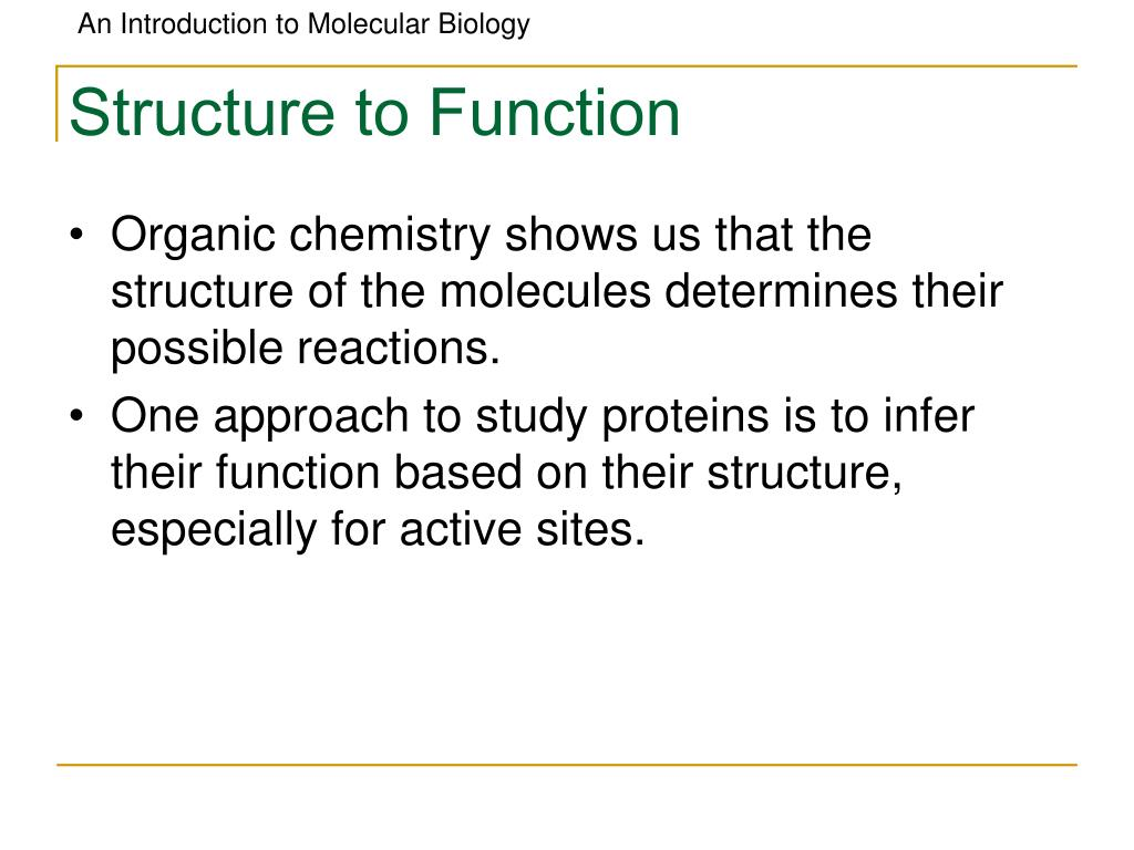 Structure to Function