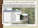 accessing the photos through the table
