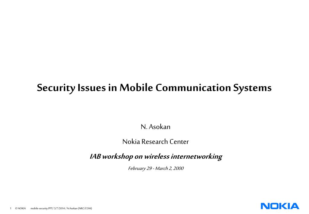 security issues in mobile communication systems l.