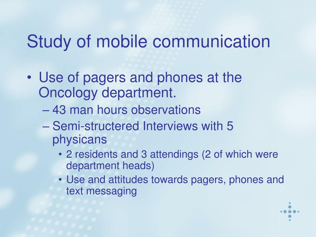 Study of mobile communication