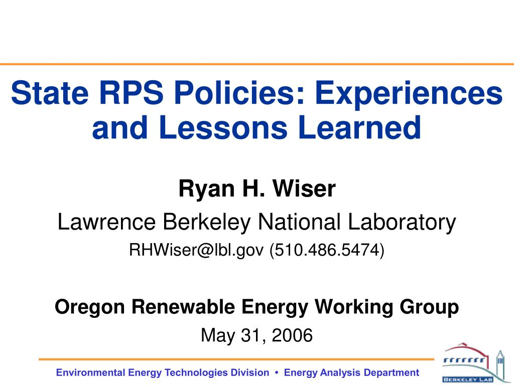 state rps policies experiences and lessons learned l.