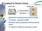 rf loopback for receiver testing