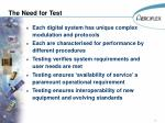the need for test