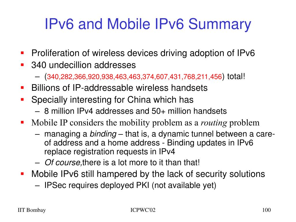 IPv6 and Mobile IPv6 Summary