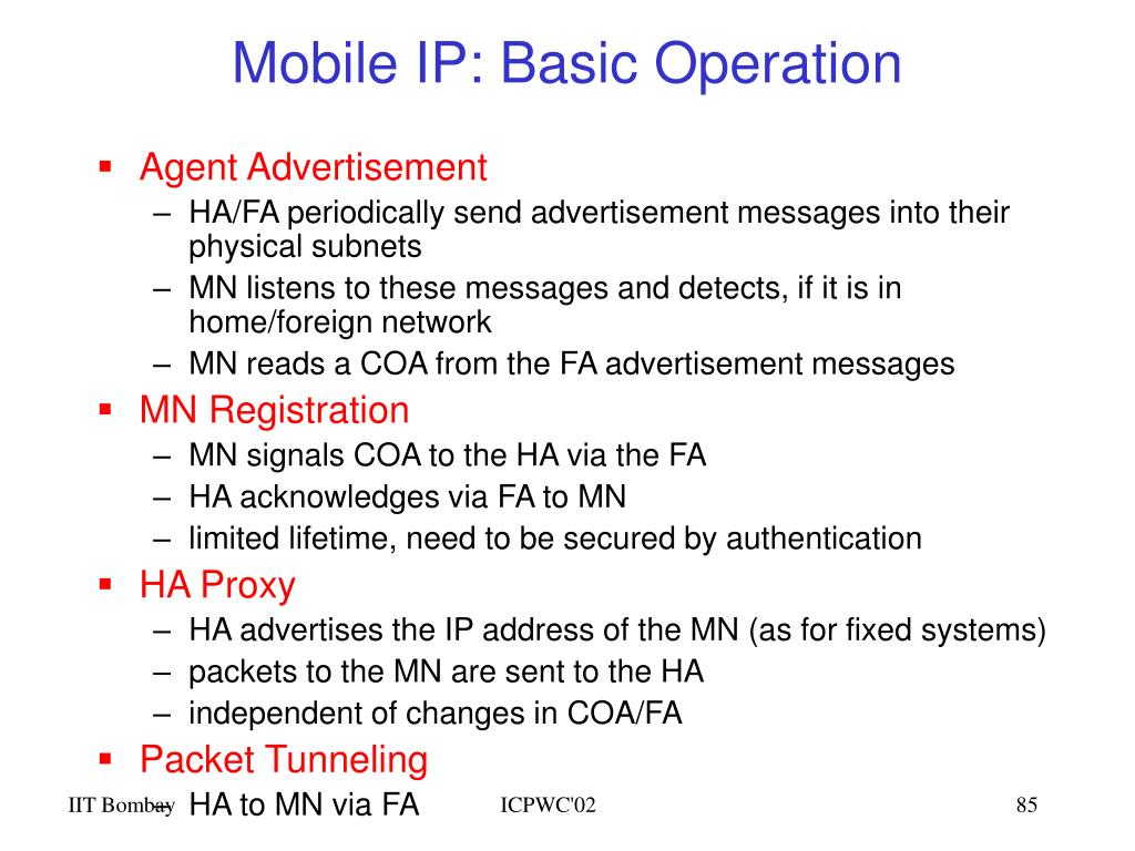 Mobile IP: Basic Operation