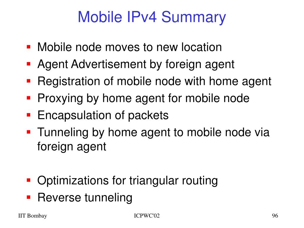 Mobile IPv4 Summary