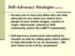 self advocacy strategies cont d