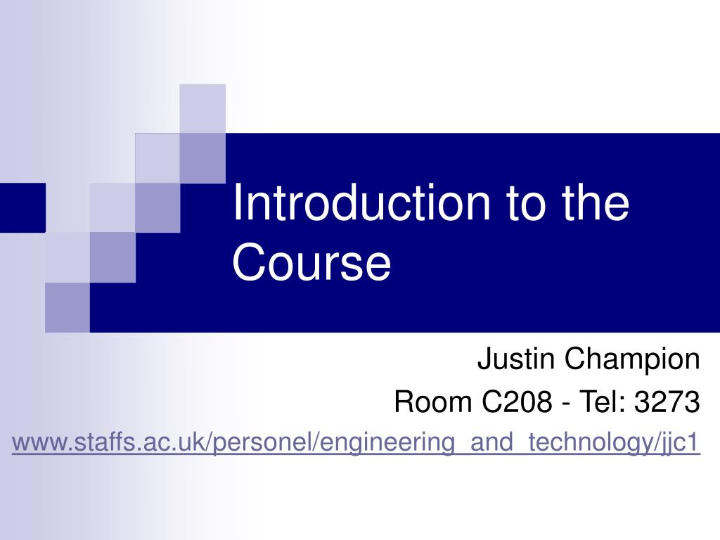 introduction to the course l.