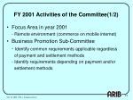 fy 2001 activities of the committee 1 2