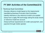 fy 2001 activities of the committee 2 2
