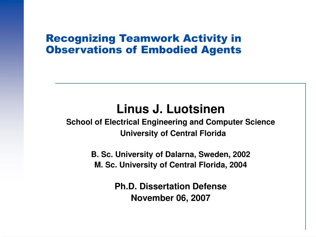 recognizing teamwork activity in observations of embodied agents l.