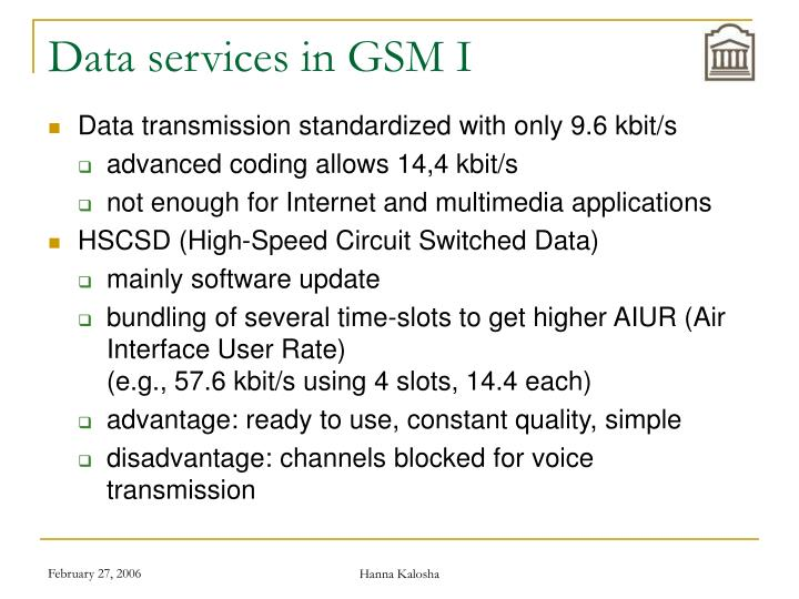 Data services in GSM I