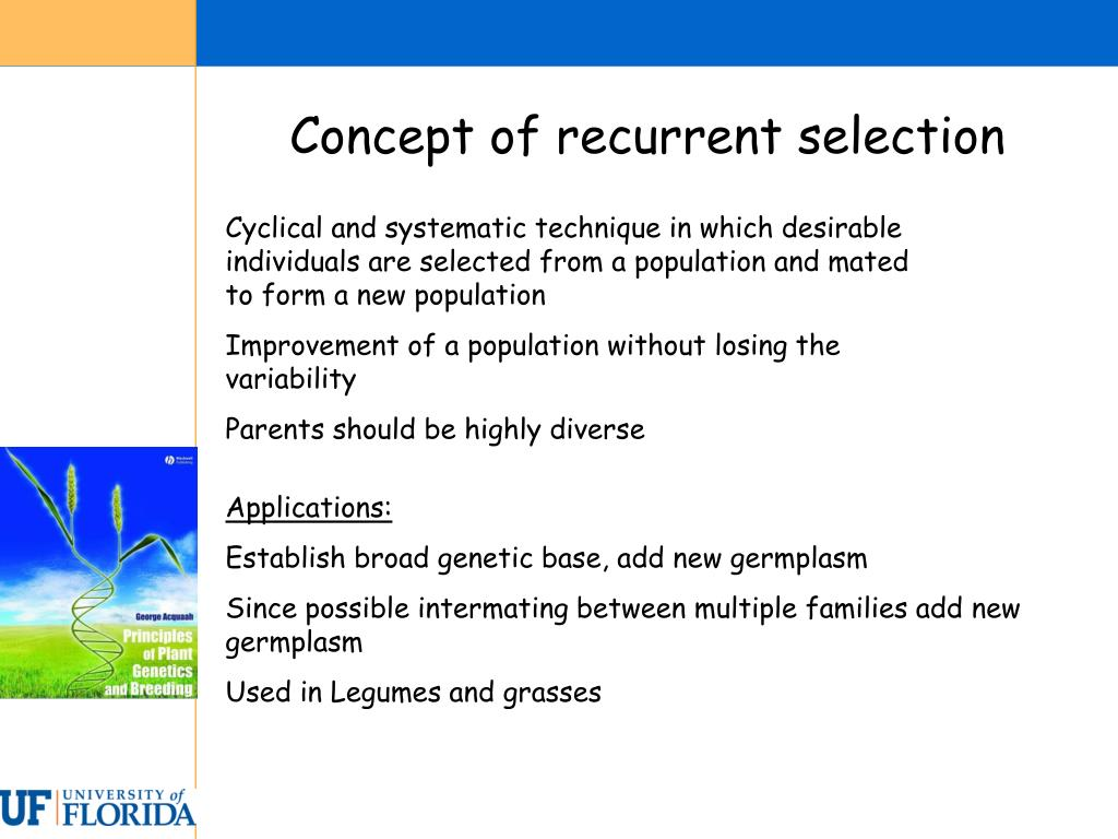 Concept of recurrent selection