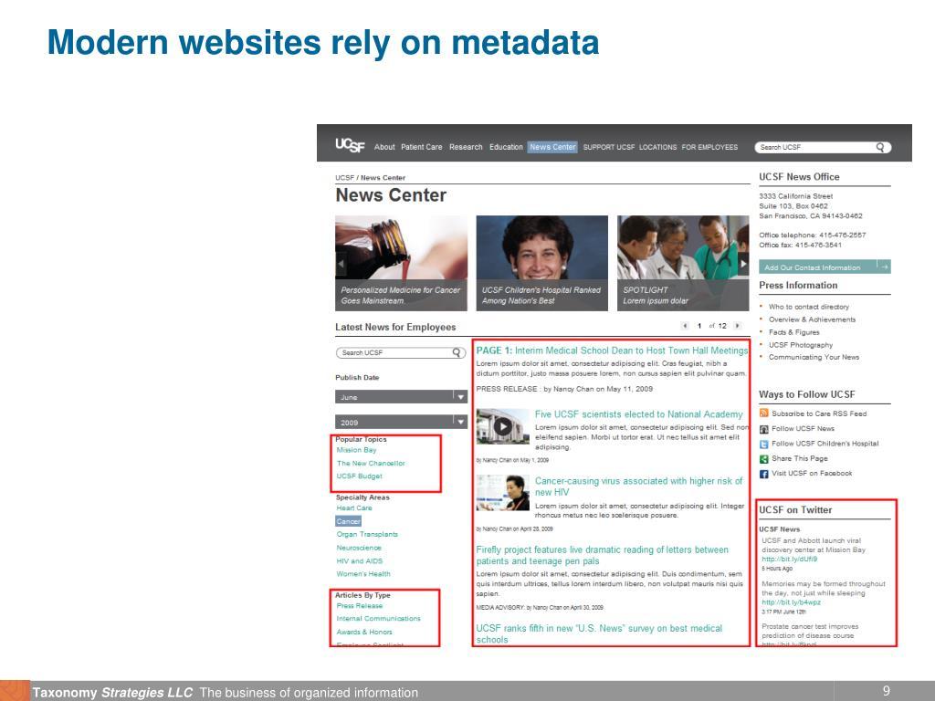 Modern websites rely on metadata