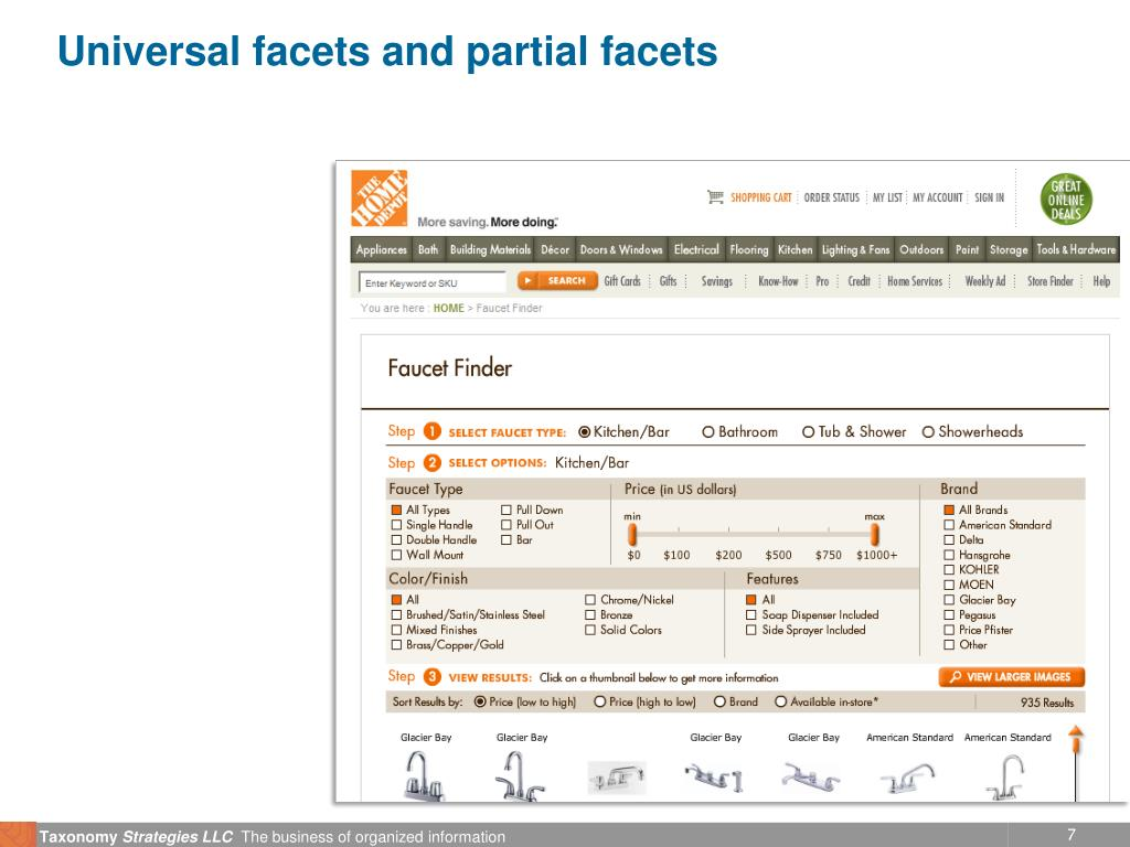 Universal facets and partial facets
