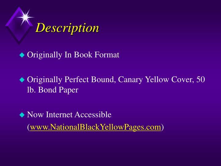 Originally In Book Format