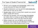 five types of student financial aid