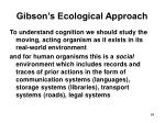 gibson s ecological approach