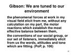 gibson we are tuned to our environment