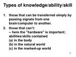 types of knowledge ability skill32